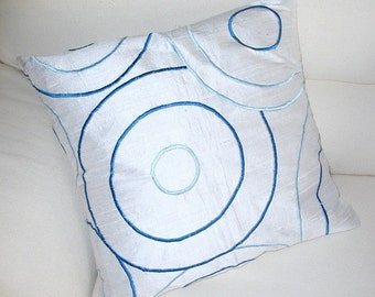 White Silk throw pillow cover with circle design hand made modern contemporary 16 inch