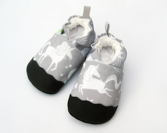 Eco-Canvas Vegan Gray Unicorn / Non-slip Soft Sole Baby Shoes / Made to Order / Babies Toddlers Preschool