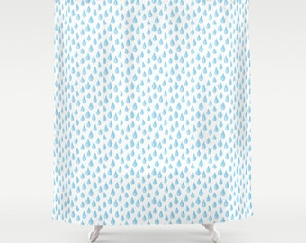 Blue Raindrops Shower Curtain Art Turquoise Childrens Bathroom Decor Home Rain Illustration Theme Raindrop Artwork