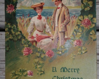 A Merry Christmas Vintage Postcard Paper Ephemera Collectible
