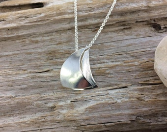 Full Sail Sailboat Necklace and Pendant in Silver or Gold