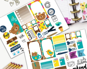 Beary Lovely Theme Planner Weekly Sticker SMALL Kit, CLASSIC Happy Planner Sticker, Weekly Set, Stickers, Printed, Cut, Bear, Bird, Tea