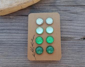 Green With Envy Glitter Studs Gift Box 4 Pair, Titanium Posts, Green Glitter Studs, Sensitive Ears, Non-Allergenic, Super Sparkly Glitter