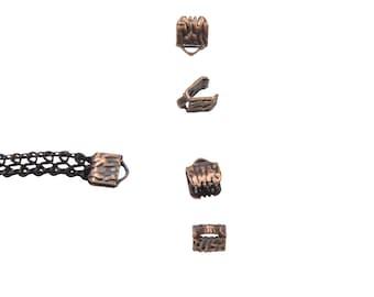 16 pieces  6mm (1/4 inch) Antique Copper Ribbon Clamp End Crimps - Artisan Series