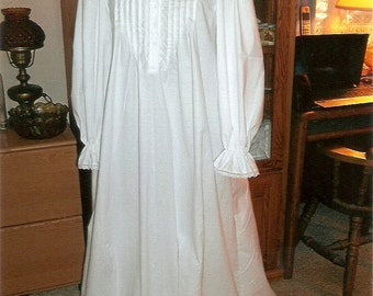 Victorian Cotton Nightgown/high collar/trimmed in cotton lace Sizes 6-26