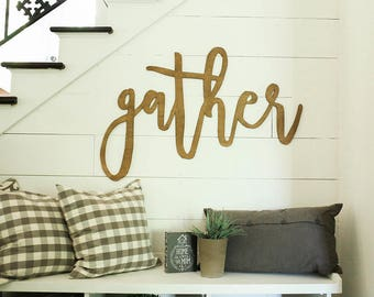 gather | 3D word | cutout word | wooden word | gallery wall