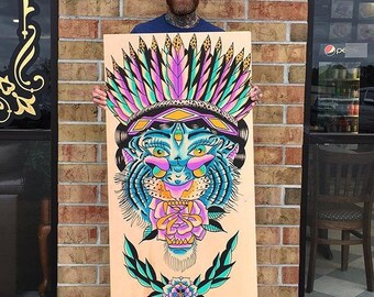 Hand painted wood