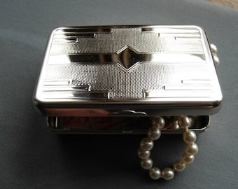 Vintage German Silver Box, Tobacco Tin, Stash Box, Handy Pocket Container, Brand-new Made in Germany by Hansaware G40