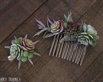 Get Both-Handmade Succulents Asymmetrical Side Comb & Mini Succulents Alligator Hair Clip (faux succulents)- FOR SUCCULENT LOVERS :)