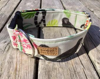 Tropical Monkeys Goober Dog Collar, Jungle, Flowers, Summer, Nova Scotia, Canada