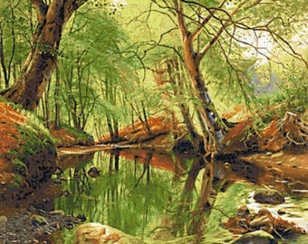 A forest stream (v2) - landscape woods counted cross stitch kit