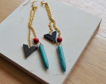 Gold Chain Turquoise Spike Dangle Earrings
