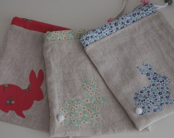 Bunny Appliqué Sock Project Bags
