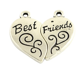Best Friends Heart Set Charm -4 sets