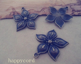 10pcs Antique Bronze flowers  pendant charm 32mm