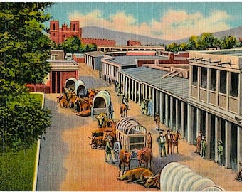 Vintage New Mexico Postcard - Arrival of Prairie Schooners in Santa Fe ... End of the Santa Fe Trail (Unused)