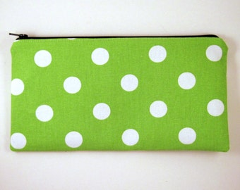 Green Polka Dot Make Up Pouch, Pencil Pouch, Gadget Bag