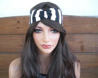 Womens Headband Fabric Headband Summer Fashion Accessories Women Turban Headband Yoga Headband in Black and White Stripes