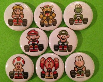 "8 Brand New 1"" ""Mario Kart"" Button Set"