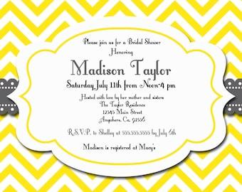 Printable Chevron Invitation, Personalized Bridal Shower Invite