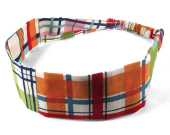 """Fabric Headband - Madras Plaid - Pick your size - fit toddlers to adults - 1-1/2"""" wide"""