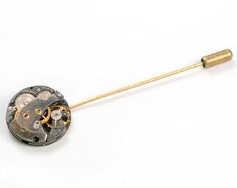 Steampunk Antique Watch Movement Lapel Pin