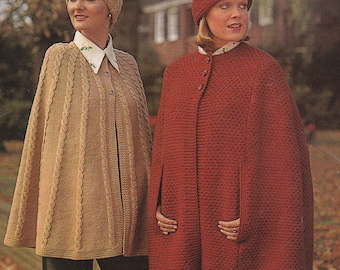 Womens chunky cape PDF vintage knitting pattern pdf INSTANT download pattern only pdf capes and hats hat