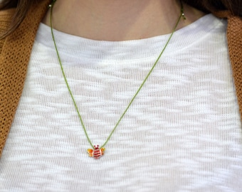 Bee Necklace, Enamel Bee Necklace, little gold bee necklace, Bee Jewelry, Honey bee pendant, bee pendant, zoo necklace, bee necklace red,