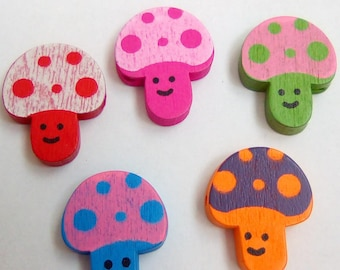 9 wood mushroom 22x18mm pacifier beads