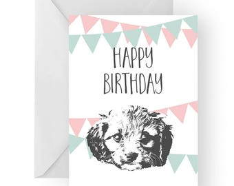 Cavoodle blank birthday card- Cavoodle greeting card, dog card, Cavoodle birthday card, cute dog birthday card, Birthday card