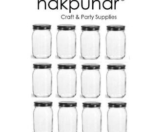 Nakpunar 12 pcs 16 oz Mason Glass Jars with Black Lid
