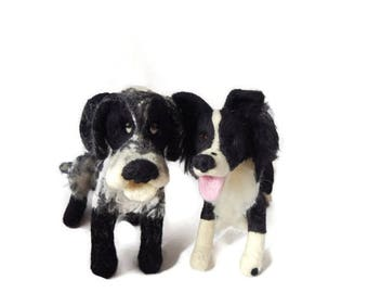 Custom - TWO Needle felted Dogs One Large and One Medium  - example Needle Felted Border collie and spaniel  - Border collie art