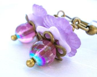 Fairy Hat Flowers, little lavender flower earrings, lucite and brass, Czech glass beads, faerie tale floral earrings, dangle drops for women