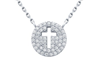 Sterling silver pave disc necklace. Cross necklace. Circle cross necklace. Gold pave disc necklace. Cross disc necklace. Silver jewelry.