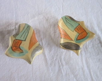 Vintage Really Ugly Hand Painted Wooden Earrings Ugh!