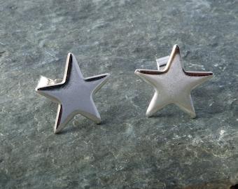 Sterling Silver  Star Earrings Ear Studs handmade