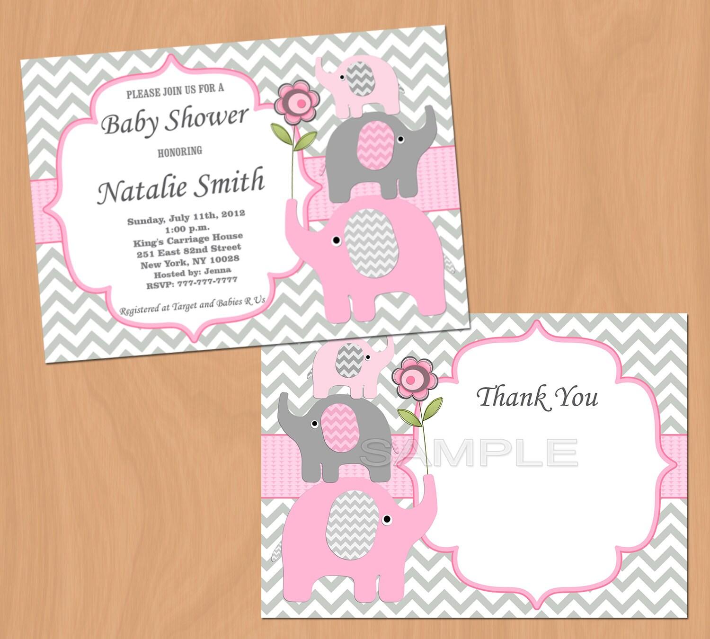 Girl Baby Shower Invitation Elephant Baby Shower Invitation
