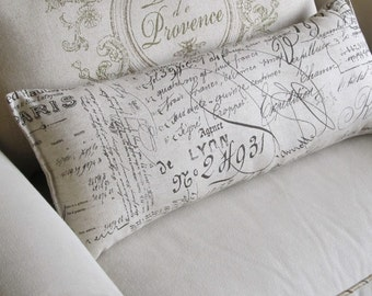 FRENCH SCRIPT  bolster/lumbar/accent/throw pillow 10x25