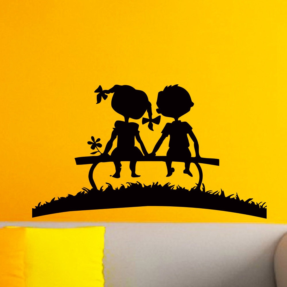 Sunset Silhouettes Boy and Girl Wall Vinyl Decal Sticker Wall