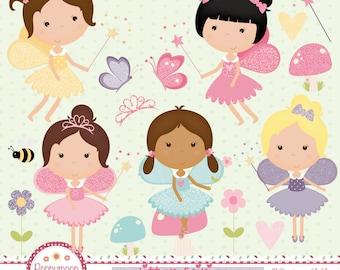Glitter fairies,butterflies, pink glitter, digital clip art set