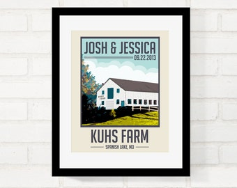 Perfect Gift for Newlywed Couple, Wedding Venue Keepsake, Vintage-Style Travel Poster, Gift for Couple, Custom Location, First Anniversary