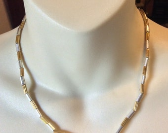 Vintage Napier gold silver tube beads beaded necklace .