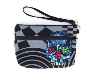 Head Trip Psychedelic Skull  Wristlet with removable strap - punk rock - rare fabric oop