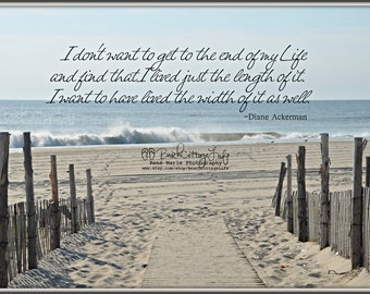 "Seaside Path Beach -Fence Coastal Cottage Inspirational Quote Ocean waves sand blue gray  ""Live the Width"""