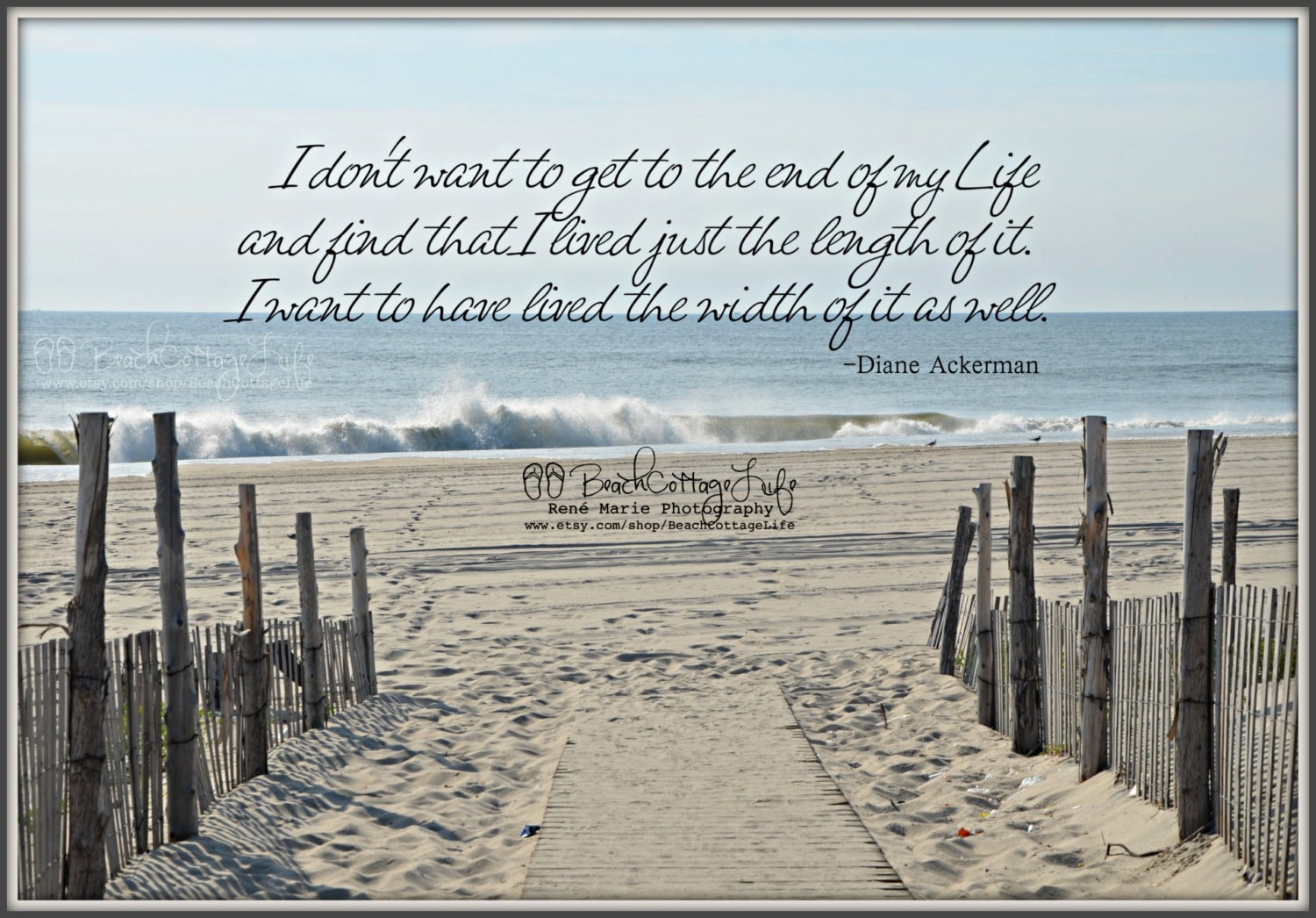 Seaside Path Beach Fence Coastal Cottage Inspirational Quote
