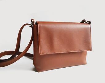 Shoulder bag Vegan Leather bag Crossbody bag woman Brown Handbag Leather bags women Gift for her