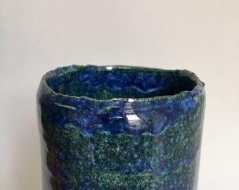 MANDA Large Vase Unique Ceramic handmade glazed Ceramicvase Ocean Blue Green Birthdaygift !