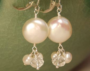 Coin Pearl Bridal Earrings, Real Freshwater White Coin Pearl with Clear Swarovski Crystal & Freshwater Pearl, Sterling Silver, Bride Earring