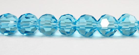 "Blue Crystal Beads, 6mm Round Crystal Beads, Turquoise Crystal Beads, Faceted Chinese Crystal Glass Beads on a 7"" Strand with 33 Beads"