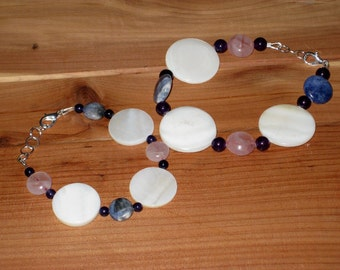 Shell and Gemstone Mother-Daughter Bracelets (B1035)